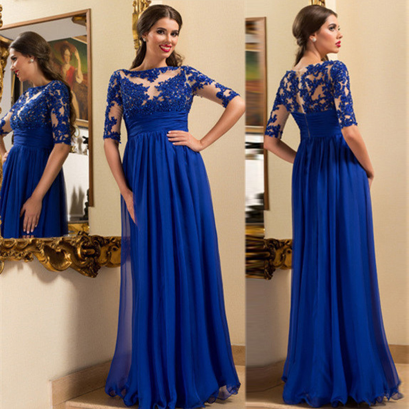 Royal blue evening dresses mother of the bride dresses a for Baby blue wedding guest dress