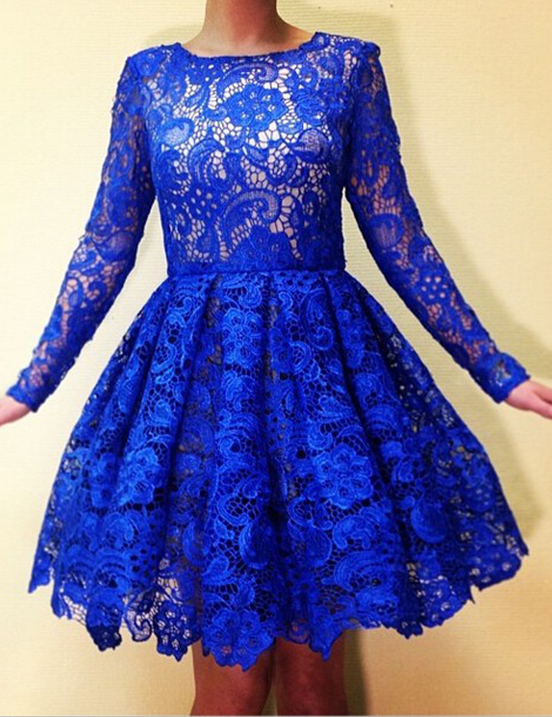 Royal Blue Prom Dresses,Prom Dresses Short,Long Sleeve ...