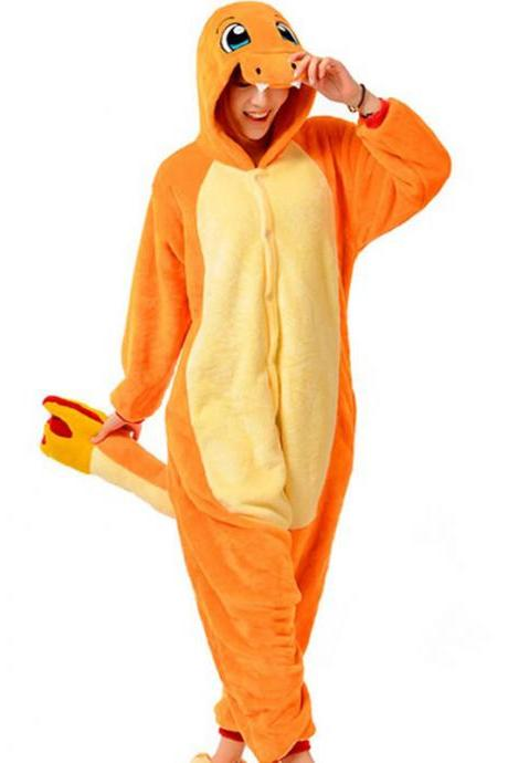 Orange Fiery Dragon Adult Animal Onesie, Cosplay Cartoon Onesies, Animal Pajamas Onesies