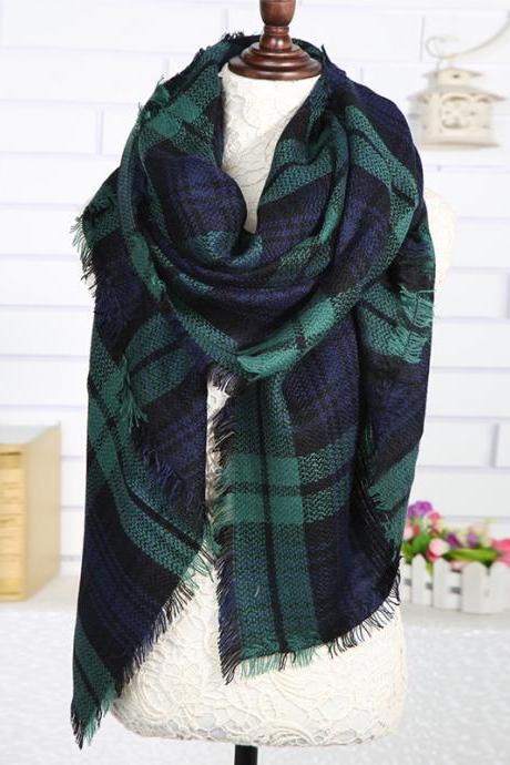Plaid Checked Tartan Scarf Wrap Shawl,Lady Large Tartan Scarf Shawl Stole Plaid Checked Pashmina Camel Green,Fashion Women Scarf Shawl Wraps Pashminas