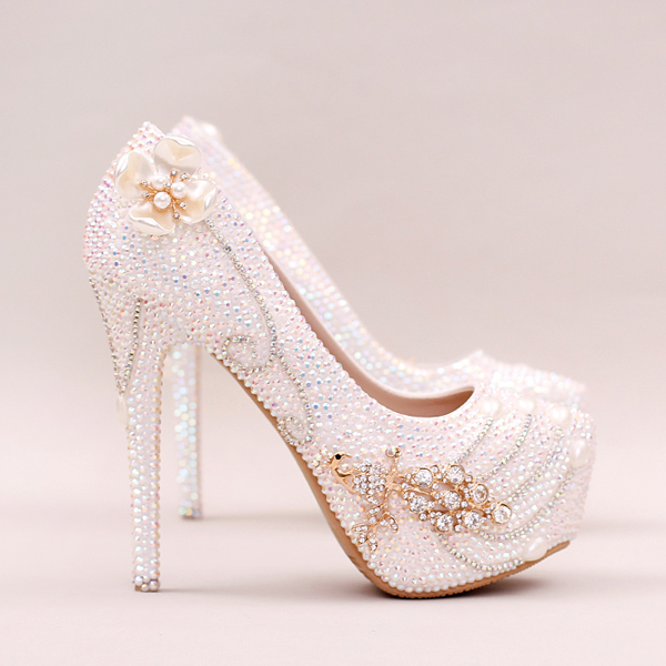 Luxury Wedding Shoes ,Crystal Diamond Shoes,Pearls Shoes,High Heels Shoes,Bride Shoes,Handmade Wedding Shoes